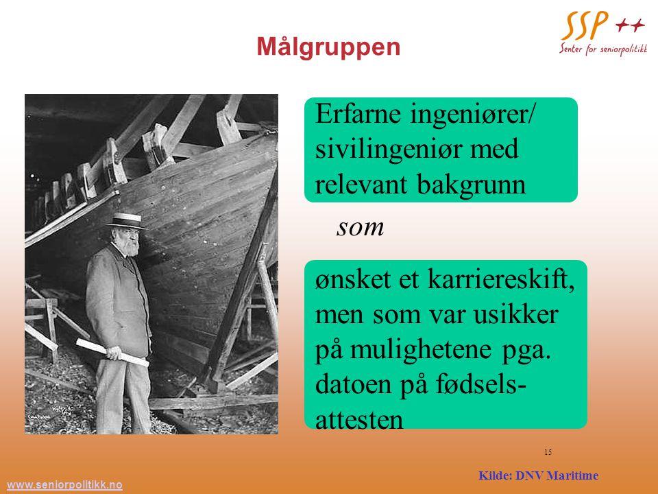 www.seniorpolitikk.no 15 Målgruppen Erfarne ingeniører/ sivilingeniør med relevant bakgrunn som ønsket et karriereskift, men som var usikker på mulighetene pga.