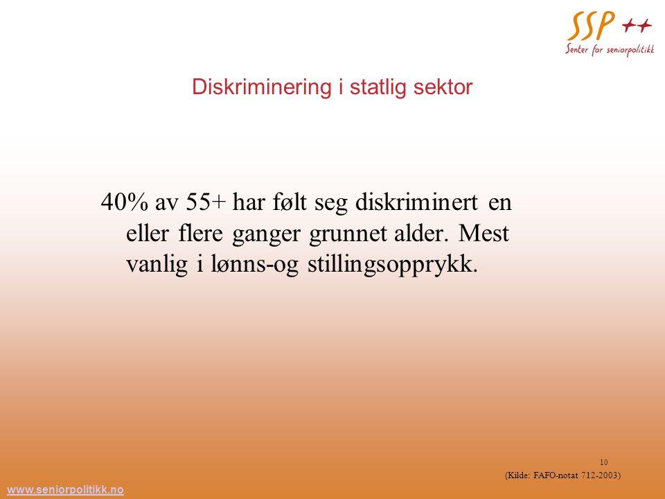 www.seniorpolitikk.no 10 Diskriminering i statlig sektor 40% av 55+ har følt seg diskriminert en eller flere ganger grunnet alder. Mest vanlig i lønns