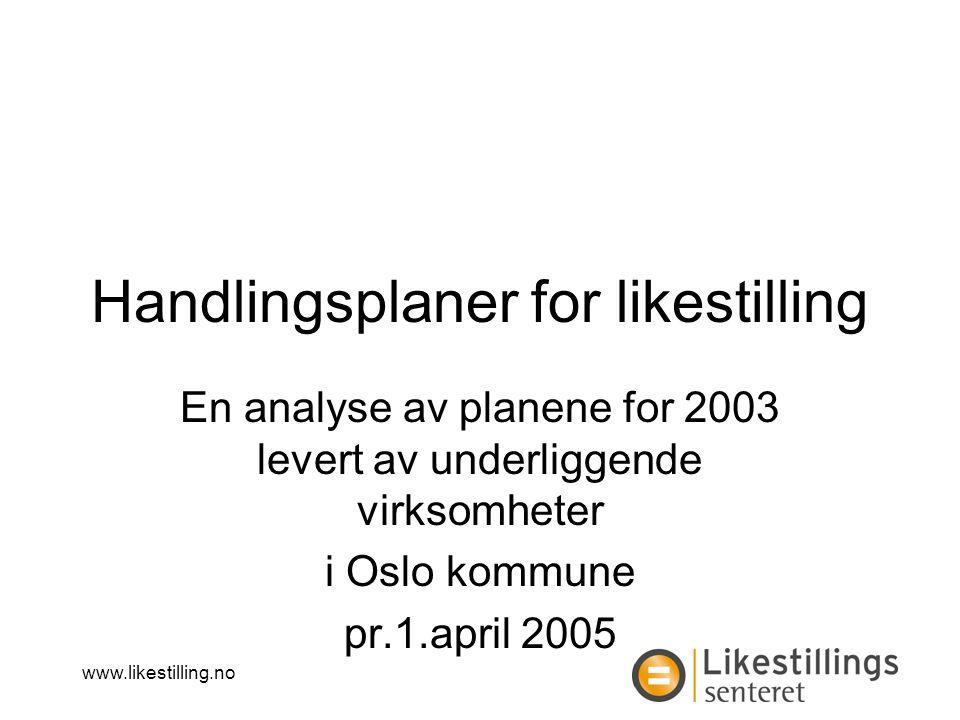 www.likestilling.no Handlingsplaner for likestilling En analyse av planene for 2003 levert av underliggende virksomheter i Oslo kommune pr.1.april 2005