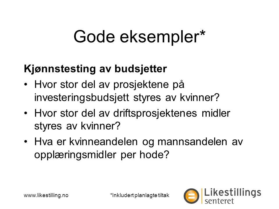www.likestilling.no Gode eksempler* Kjønnstesting av budsjetter Hvor stor del av prosjektene på investeringsbudsjett styres av kvinner.