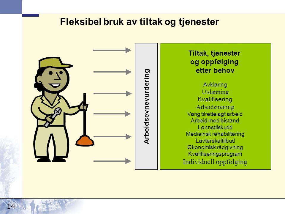 14 Fleksibel bruk av tiltak og tjenester Tiltak, tjenester og oppfølging etter behov Avklaring Utdanning Kvalifisering Arbeidstrening Varig tilrettela