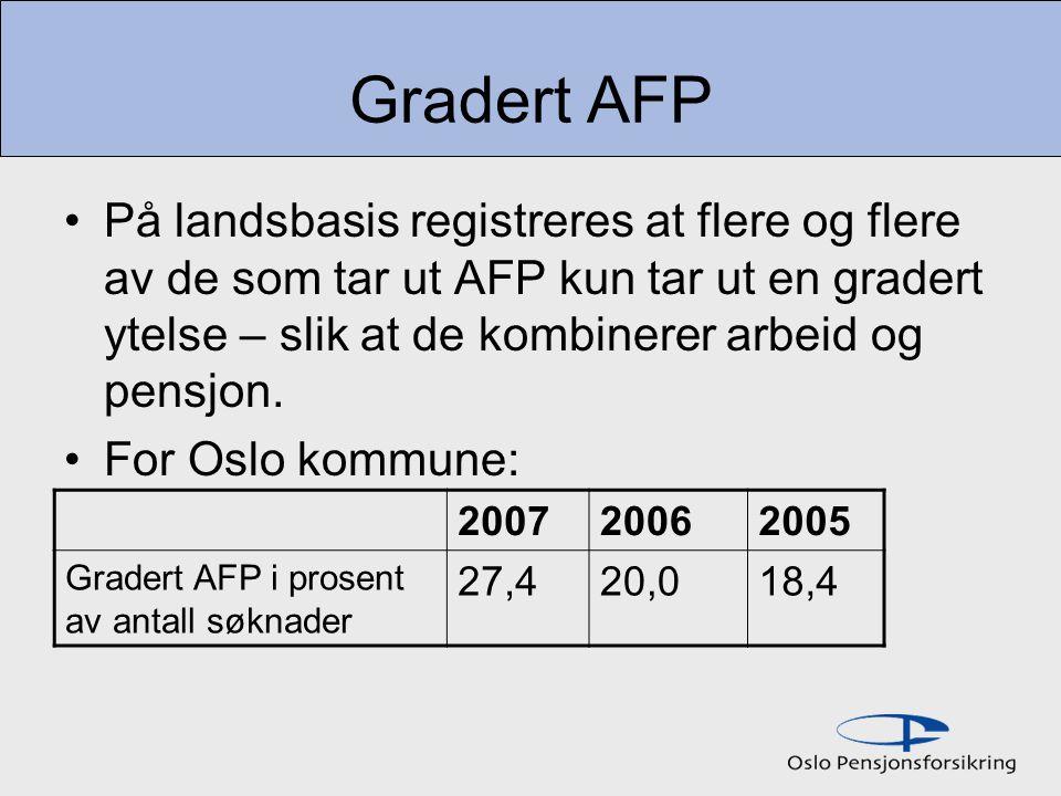 Gradert AFP På landsbasis registreres at flere og flere av de som tar ut AFP kun tar ut en gradert ytelse – slik at de kombinerer arbeid og pensjon.