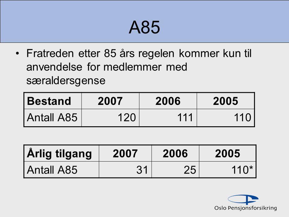 A85 Fratreden etter 85 års regelen kommer kun til anvendelse for medlemmer med særaldersgense Bestand200720062005 Antall A85120111110 Årlig tilgang200720062005 Antall A853125110*