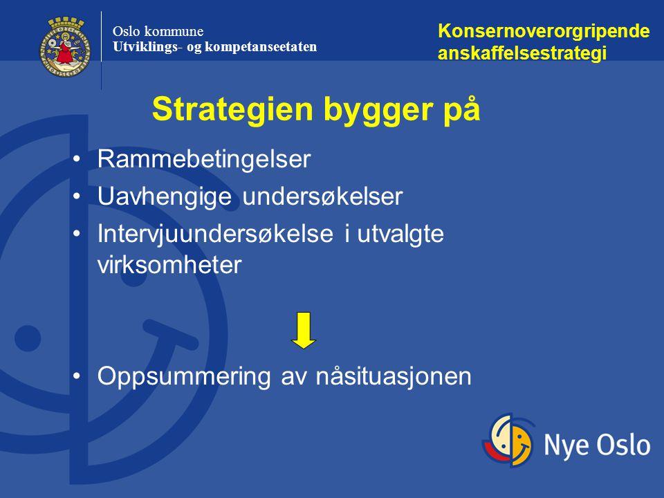 Oslo kommune Utviklings- og kompetanseetaten Strategien bygger på Konsernoverorgripende anskaffelsestrategi Rammebetingelser Uavhengige undersøkelser