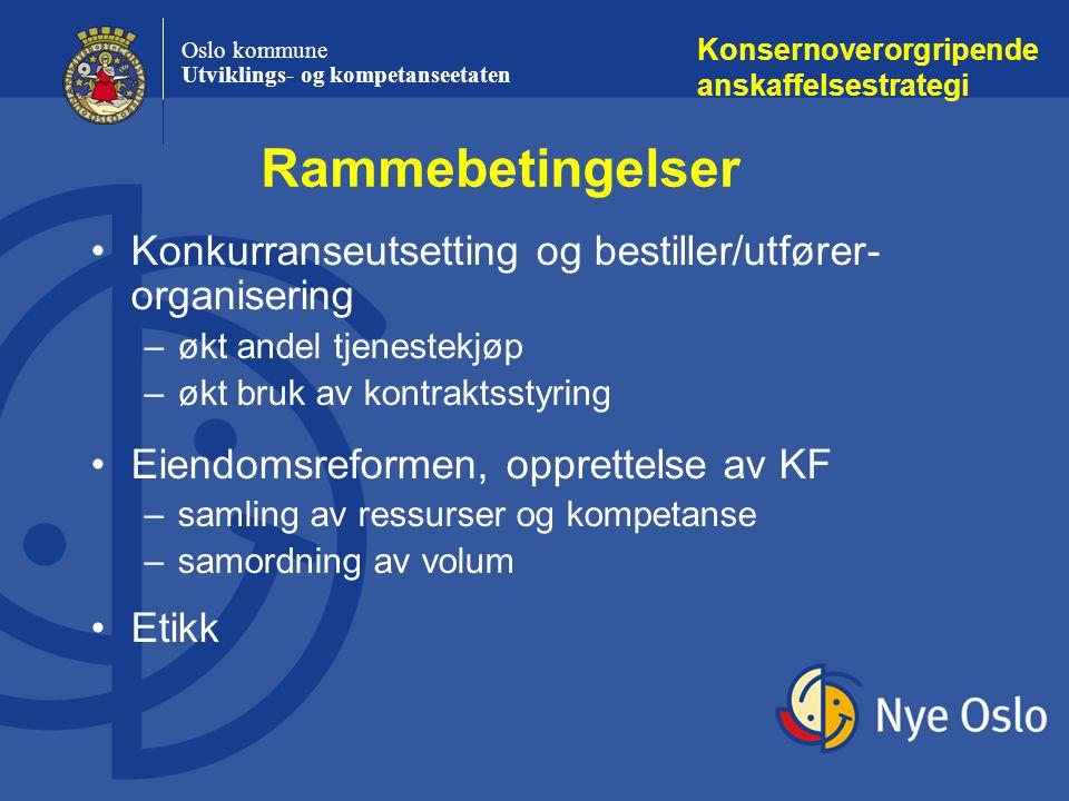 Oslo kommune Utviklings- og kompetanseetaten Rammebetingelser Konsernoverorgripende anskaffelsestrategi Konkurranseutsetting og bestiller/utfører- org