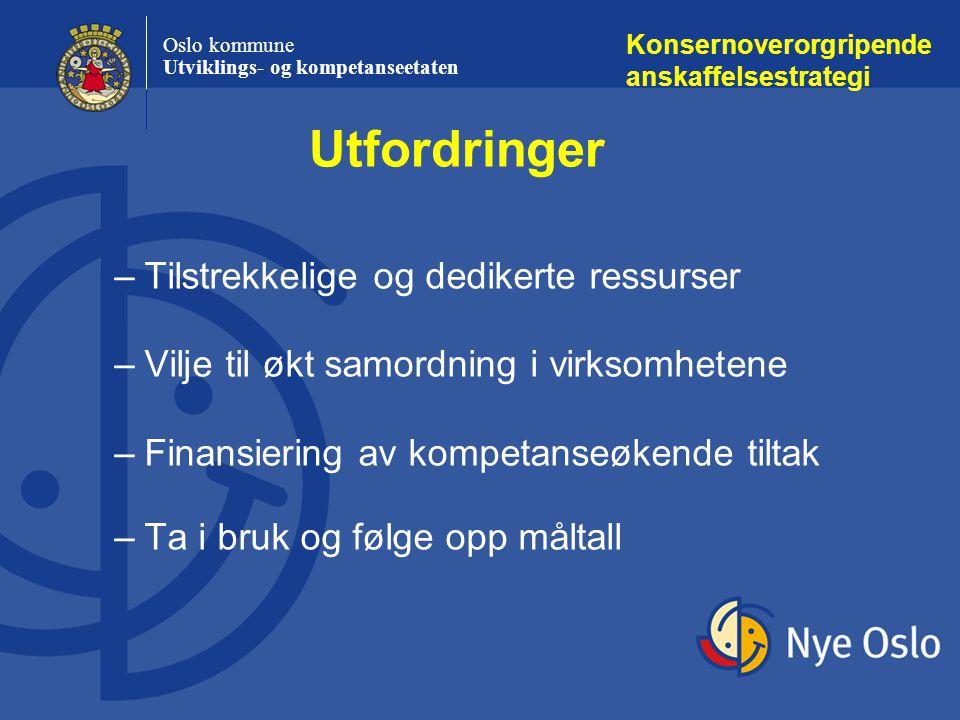 Oslo kommune Utviklings- og kompetanseetaten –Økt utarbeidelse av verktøy og metoder –Benytte de muligheter som ligger innenfor velfungerende markeder –Etablere samarbeidsrelasjoner som styrker kommunens markedsmakt og tilfører kompetanse Konsernoverorgripende anskaffelsestrategi Utfordringer