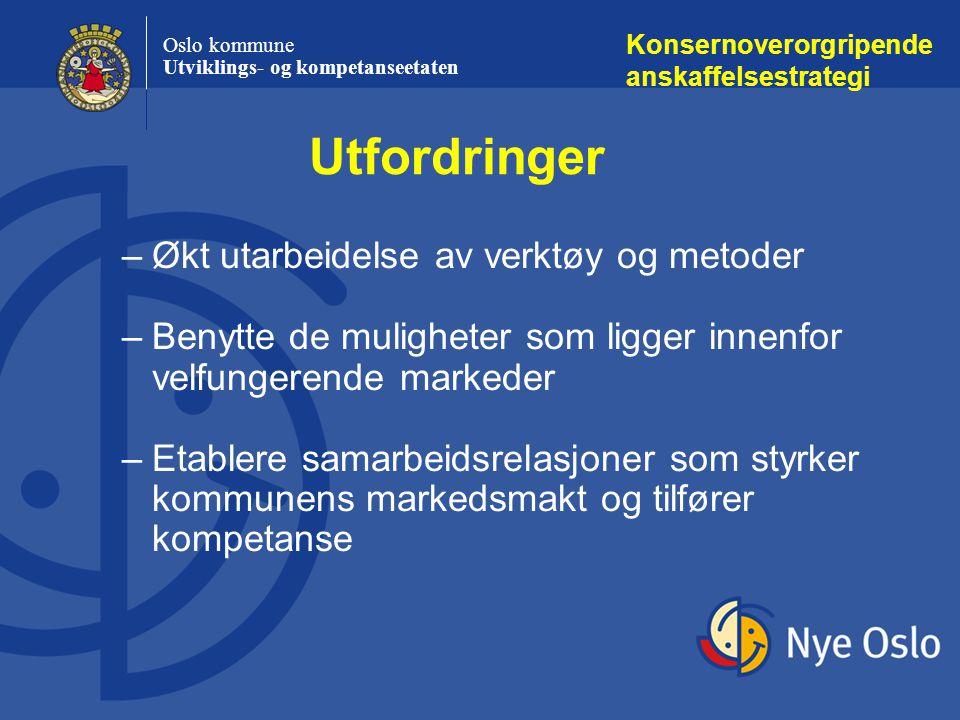 Oslo kommune Utviklings- og kompetanseetaten –Økt utarbeidelse av verktøy og metoder –Benytte de muligheter som ligger innenfor velfungerende markeder