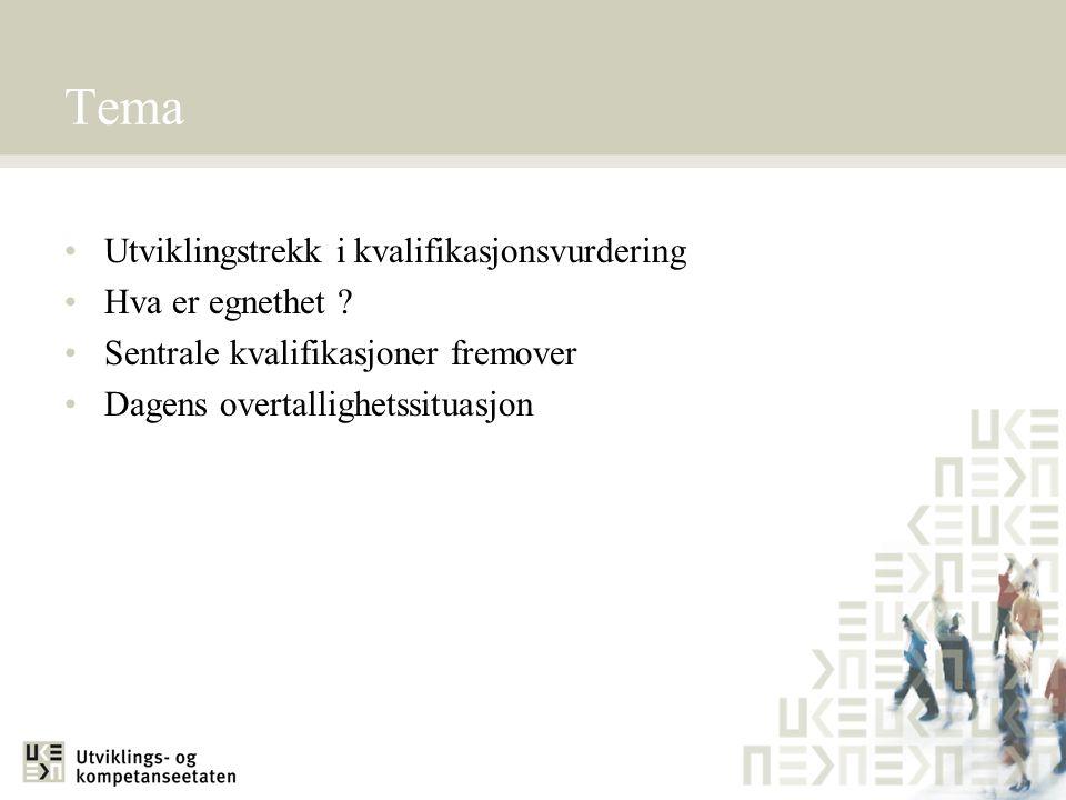 Utviklingstrekk ved kvalifikasjonsvurdering FørNå Lavere og mindre utdanningHøyere og mye utdanning Rene utdanningerCand.