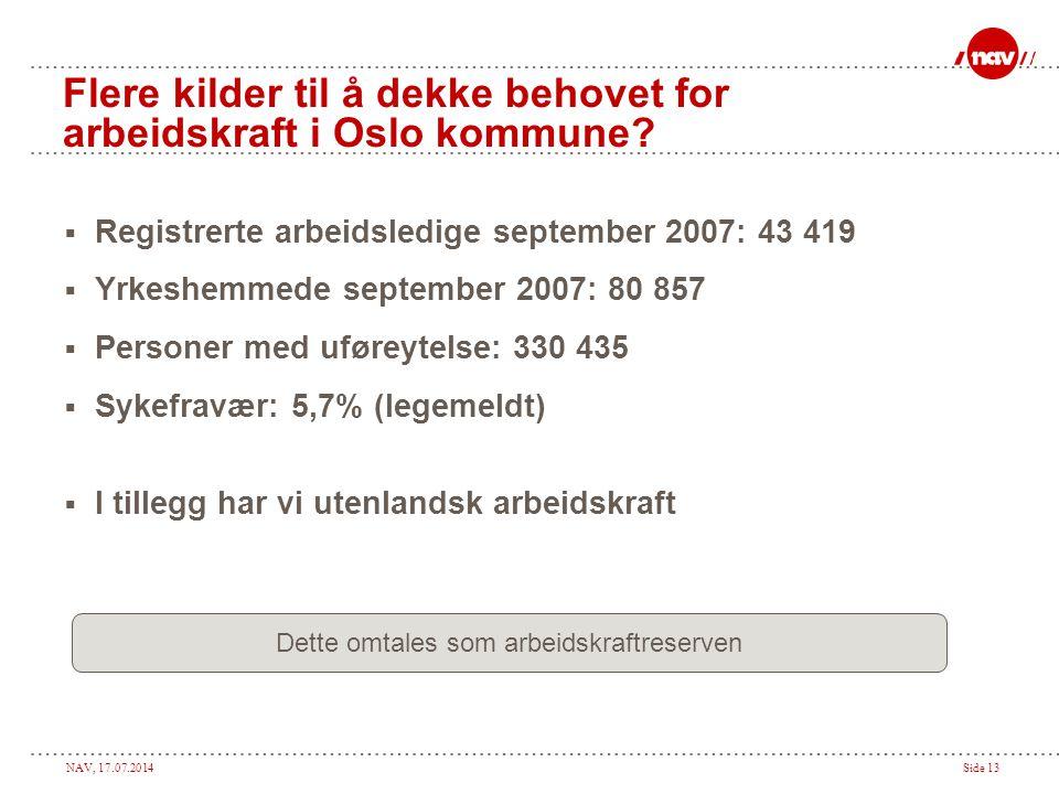 NAV, 17.07.2014Side 13 Flere kilder til å dekke behovet for arbeidskraft i Oslo kommune?  Registrerte arbeidsledige september 2007: 43 419  Yrkeshem