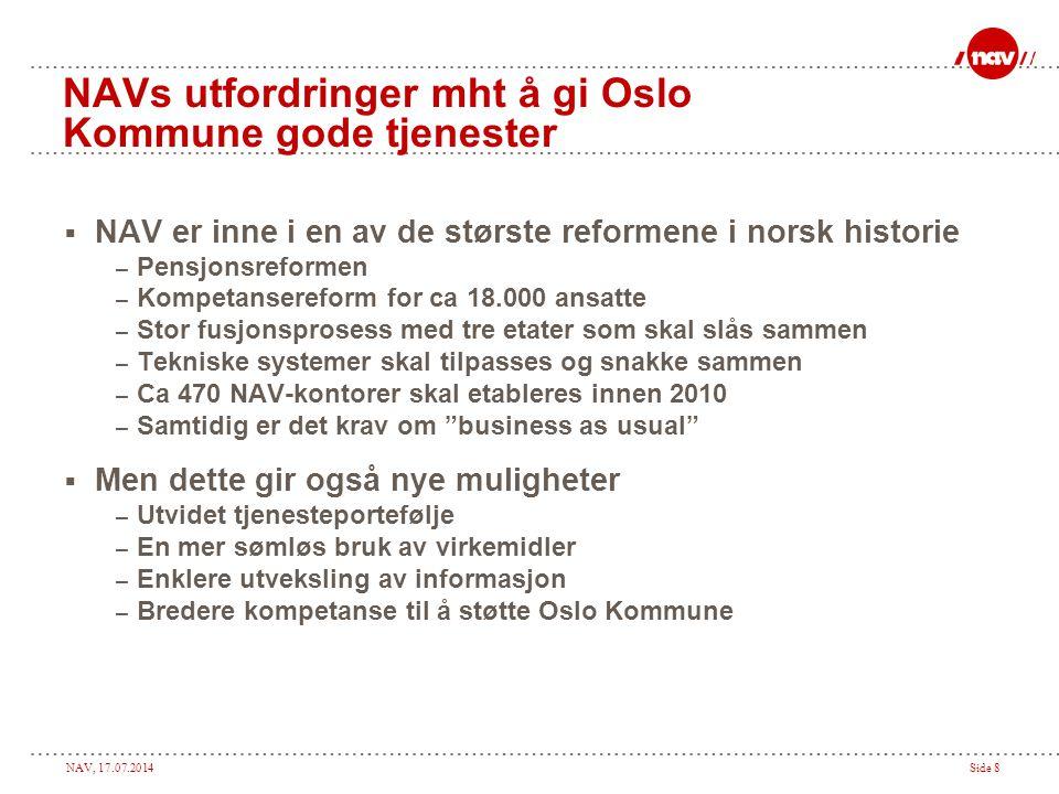NAV, 17.07.2014Side 8 NAVs utfordringer mht å gi Oslo Kommune gode tjenester  NAV er inne i en av de største reformene i norsk historie – Pensjonsref
