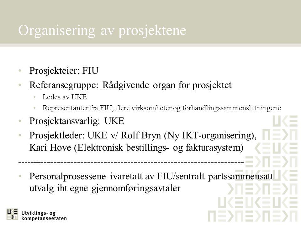 Organisering av prosjektene Prosjekteier: FIU Referansegruppe: Rådgivende organ for prosjektet Ledes av UKE Representanter fra FIU, flere virksomheter og forhandlingssammenslutningene Prosjektansvarlig: UKE Prosjektleder: UKE v/ Rolf Bryn (Ny IKT-organisering), Kari Hove (Elektronisk bestillings- og fakturasystem) -------------------------------------------------------------------- Personalprosessene ivaretatt av FIU/sentralt partssammensatt utvalg iht egne gjennomføringsavtaler