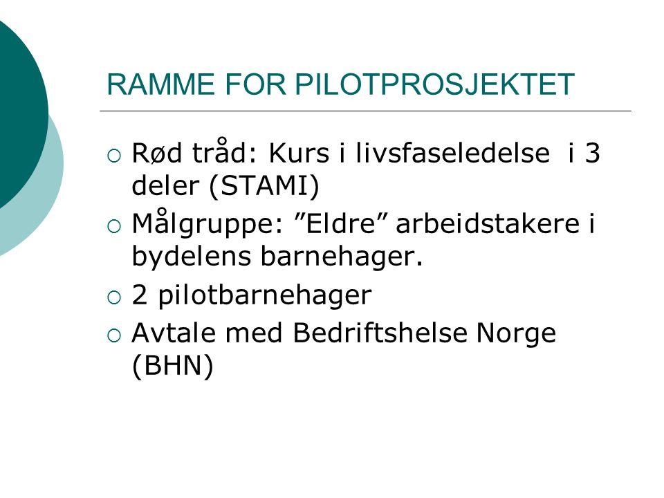 RAMME FOR PILOTPROSJEKTET  Rød tråd: Kurs i livsfaseledelse i 3 deler (STAMI)  Målgruppe: Eldre arbeidstakere i bydelens barnehager.
