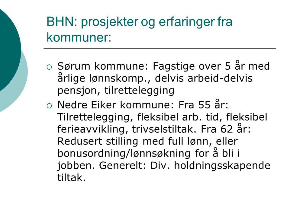 BHN: prosjekter og erfaringer fra kommuner:  Sørum kommune: Fagstige over 5 år med årlige lønnskomp., delvis arbeid-delvis pensjon, tilrettelegging  Nedre Eiker kommune: Fra 55 år: Tilrettelegging, fleksibel arb.