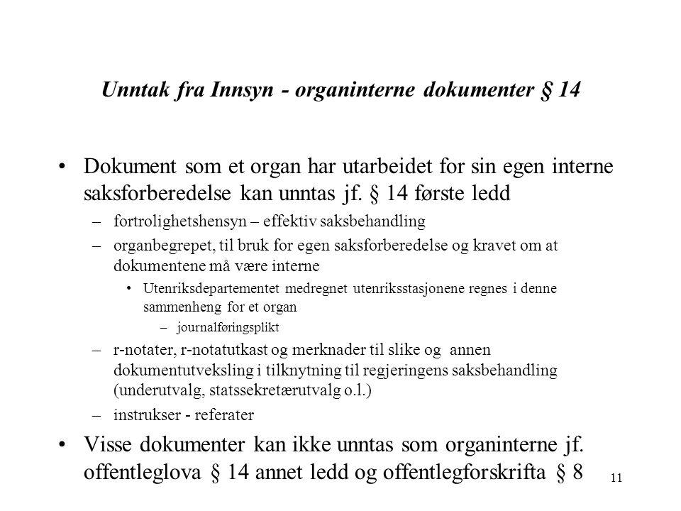 11 Unntak fra Innsyn - organinterne dokumenter § 14 Dokument som et organ har utarbeidet for sin egen interne saksforberedelse kan unntas jf.