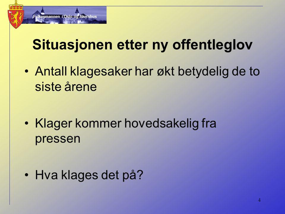 Fylkesmannen i Oslo og Akershus 4 Situasjonen etter ny offentleglov Antall klagesaker har økt betydelig de to siste årene Klager kommer hovedsakelig fra pressen Hva klages det på?