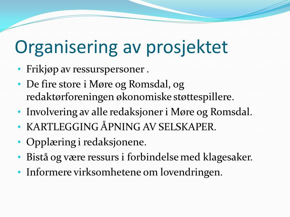 Organisering av prosjektet Frikjøp av ressurspersoner.