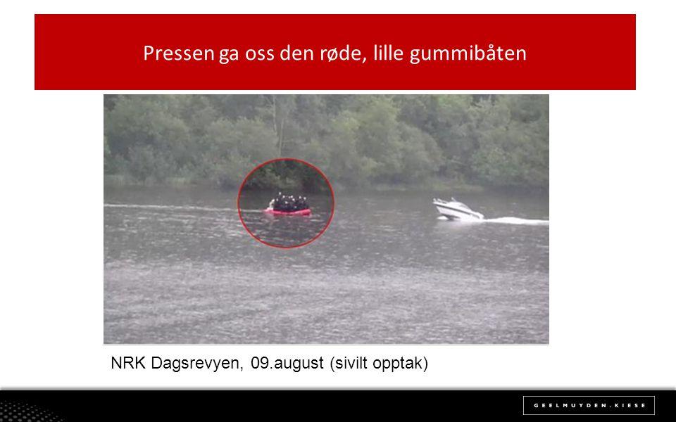 Pressen ga oss den røde, lille gummibåten NRK Dagsrevyen, 09.august (sivilt opptak)