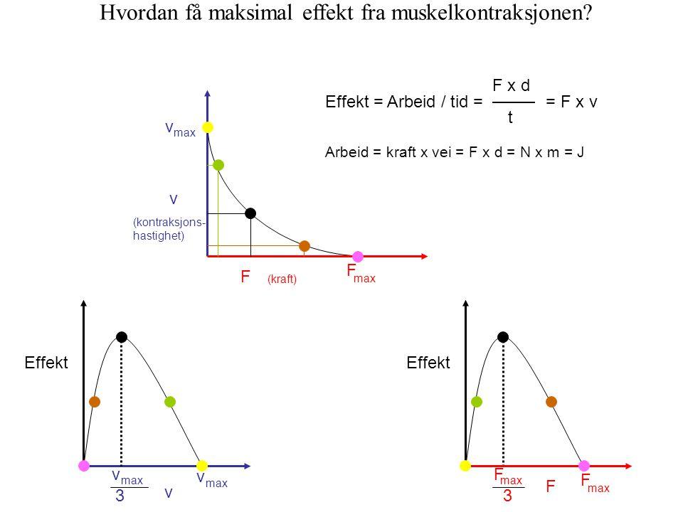 Arbeid = kraft x vei = F x d = N x m = J Effekt = Arbeid / tid = F x d t = F x v Effekt v max v v 3 Effekt F F max F 3 Hvordan få maksimal effekt fra