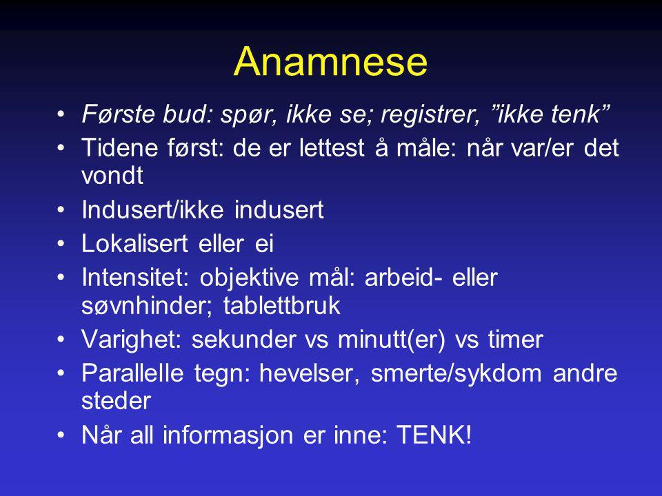 """Anamnese Første bud: spør, ikke se; registrer, """"ikke tenk"""" Tidene først: de er lettest å måle: når var/er det vondt Indusert/ikke indusert Lokalisert"""