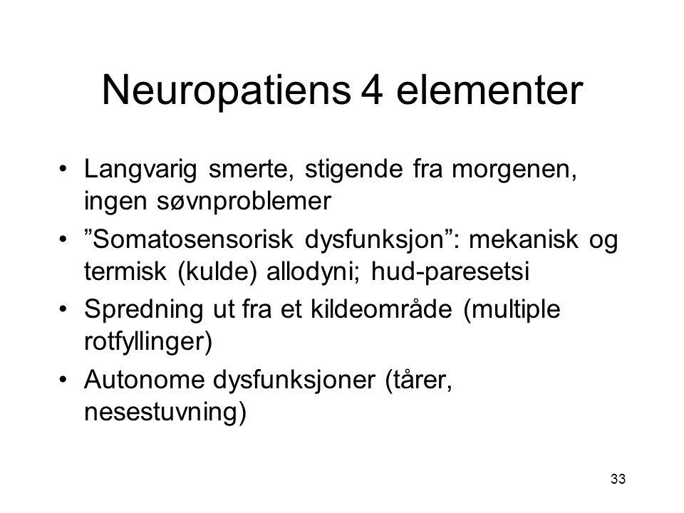 """33 Neuropatiens 4 elementer Langvarig smerte, stigende fra morgenen, ingen søvnproblemer """"Somatosensorisk dysfunksjon"""": mekanisk og termisk (kulde) al"""