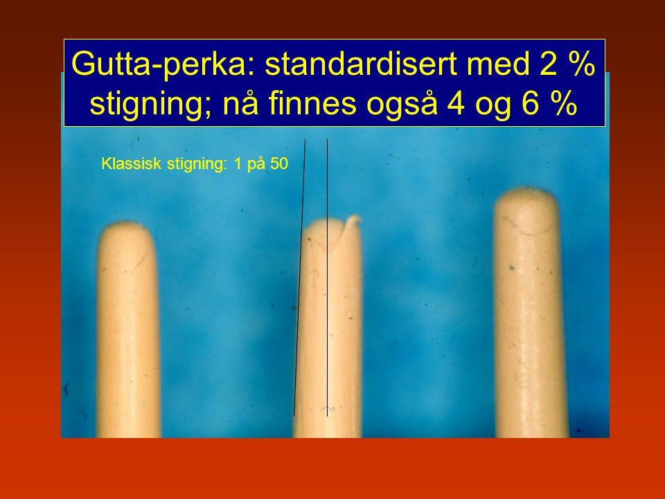 Gutta-perka: standardisert med 2 % stigning; nå finnes også 4 og 6 % Klassisk stigning: 1 på 50