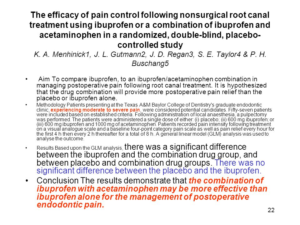 22 The efficacy of pain control following nonsurgical root canal treatment using ibuprofen or a combination of ibuprofen and acetaminophen in a random