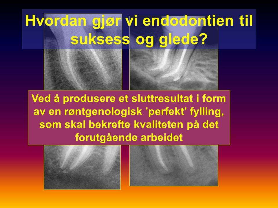 Testmetoder for endodontiske materialer Biologiske: ISO 10993 –cellekultur, mutagenisitet, implantasjonstester Teknologiske: ISO 6876, 6877 –Arbeids- og stivningstid, flyteevne, oppløselighet, dimensjonsforandring, røntgenkontrast 'Ad Hoc'-methoder –adhesjon og lekkasjestudier Kliniske: ISO standarder, FDI protokoller