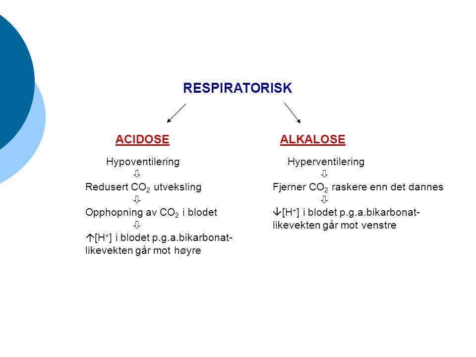 RESPIRATORISK ACIDOSEALKALOSE Hypoventilering  Redusert CO 2 utveksling  Opphopning av CO 2 i blodet   [H + ] i blodet p.g.a.bikarbonat- likevekte