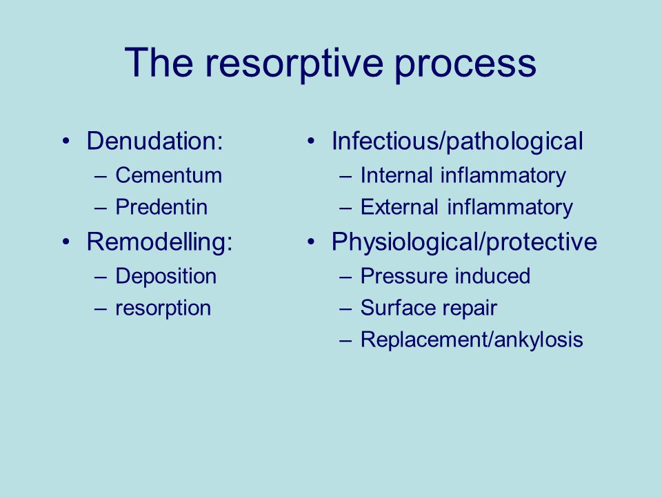 The resorptive process Denudation: –Cementum –Predentin Remodelling: –Deposition –resorption Infectious/pathological –Internal inflammatory –External