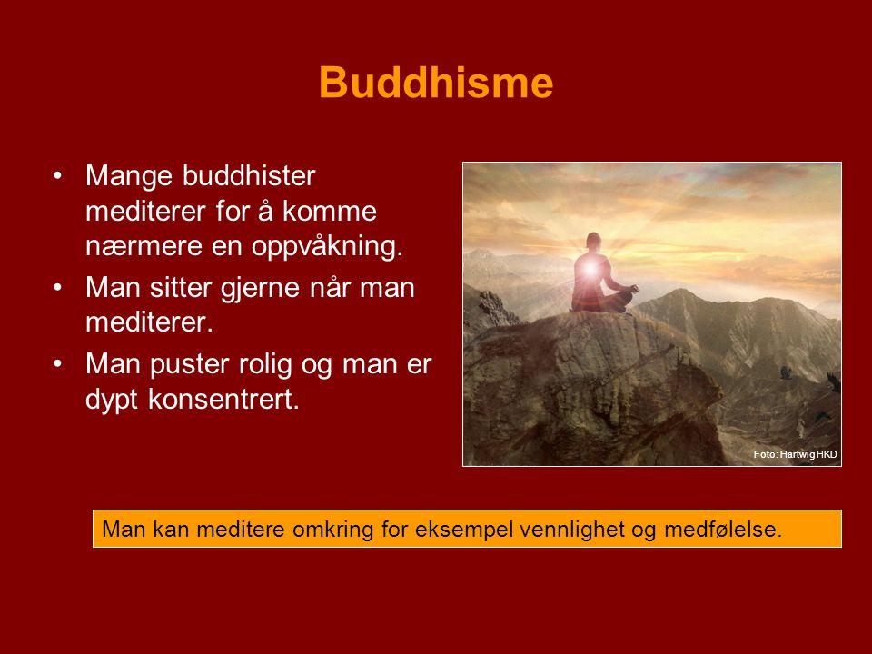 Buddhisme Mange buddhister mediterer for å komme nærmere en oppvåkning.