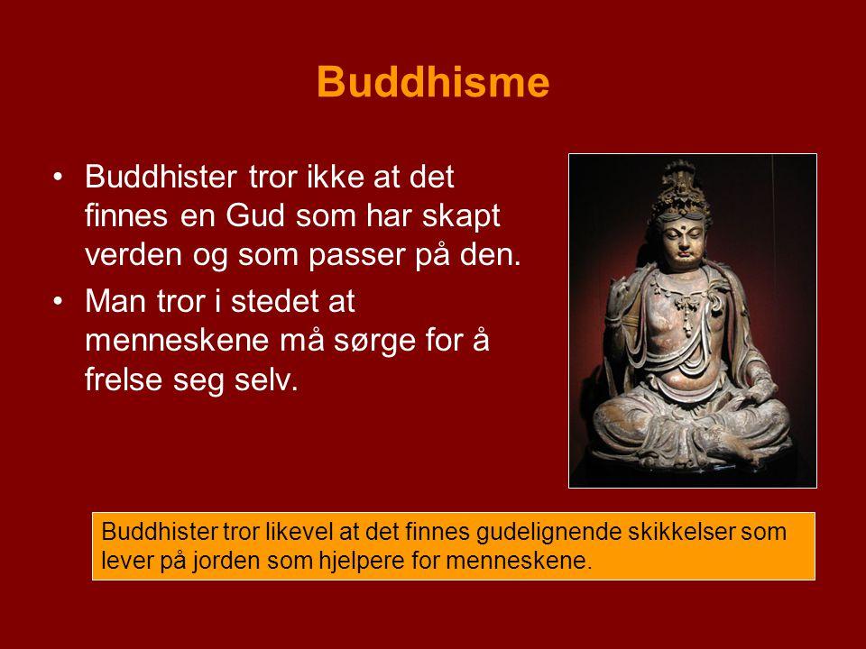 Buddhisme Buddhister tror ikke at det finnes en Gud som har skapt verden og som passer på den.