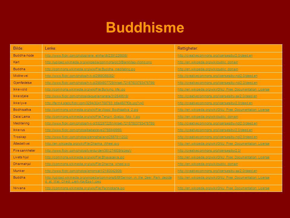 Buddhisme Bilde:Lenke:Rettigheter: Buddha-hodehttp://www.flickr.com/photos/rene_ehrhardt/2391226598/http://creativecommons.org/licenses/by/2.0/deed.en
