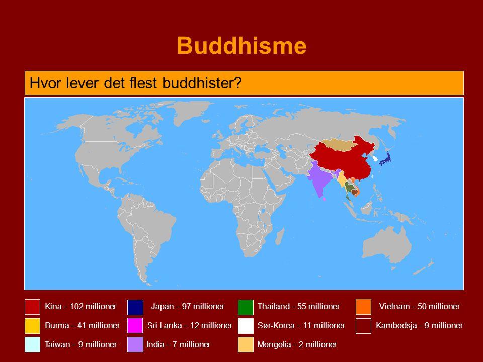 Buddhisme Kina – 102 millionerJapan – 97 millionerThailand – 55 millionerVietnam – 50 millioner Burma – 41 millionerSør-Korea – 11 millionerSri Lanka – 12 millionerKambodsja – 9 millioner Taiwan – 9 millionerIndia – 7 millionerMongolia – 2 millioner Hvor lever det flest buddhister?