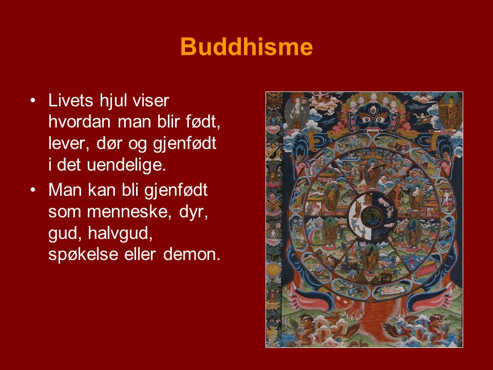 Buddhisme Livets hjul viser hvordan man blir født, lever, dør og gjenfødt i det uendelige. Man kan bli gjenfødt som menneske, dyr, gud, halvgud, spøke