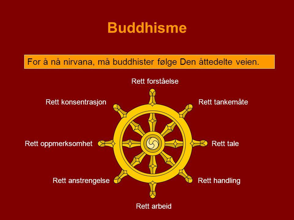 Buddhisme For å nå nirvana, må buddhister følge Den åttedelte veien. Rett forståelse Rett tankemåte Rett tale Rett handling Rett arbeid Rett anstrenge