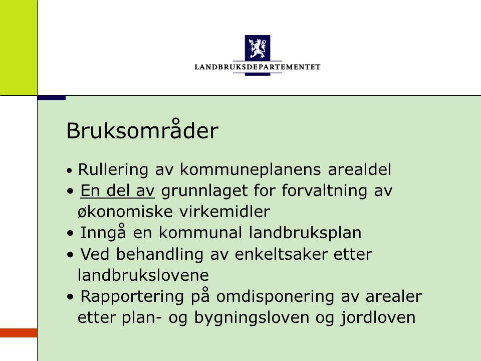 Bruksområder Rullering av kommuneplanens arealdel En del av grunnlaget for forvaltning av økonomiske virkemidler Inngå en kommunal landbruksplan Ved b