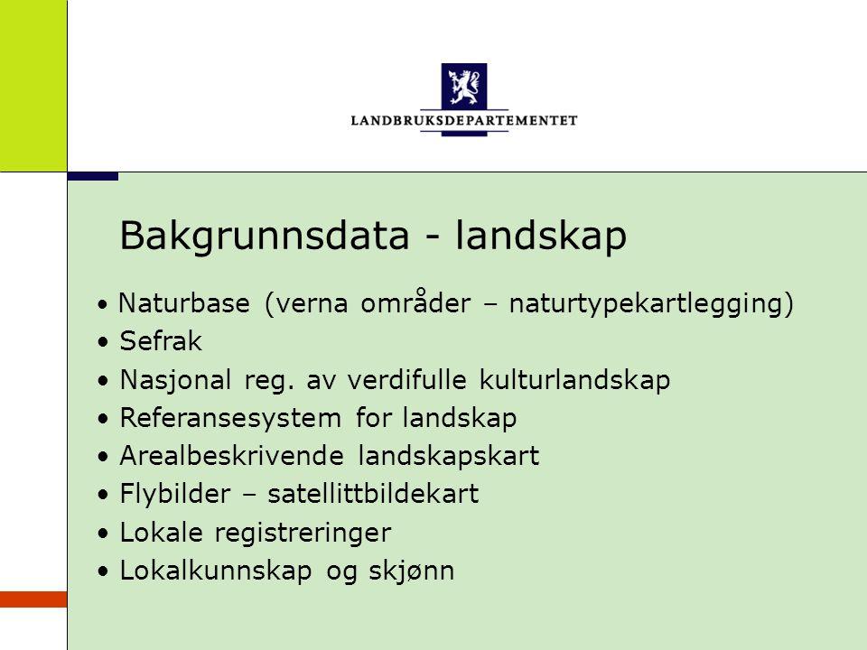 Bakgrunnsdata - landskap Naturbase (verna områder – naturtypekartlegging) Sefrak Nasjonal reg. av verdifulle kulturlandskap Referansesystem for landsk