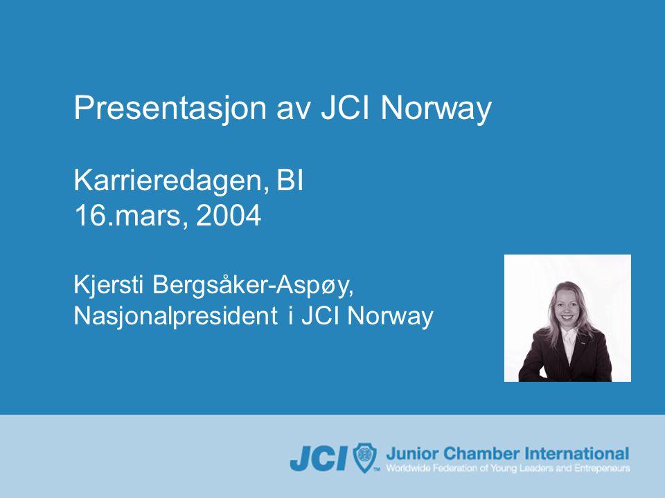 Presentasjon av JCI Norway Karrieredagen, BI 16.mars, 2004 Kjersti Bergsåker-Aspøy, Nasjonalpresident i JCI Norway