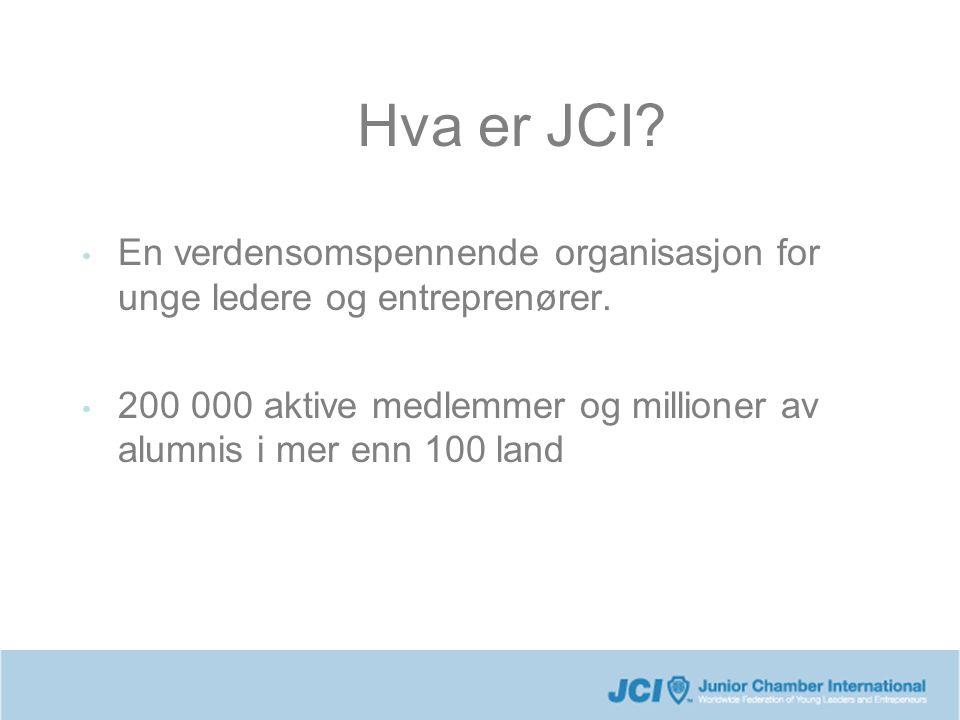 Hva er JCI? En verdensomspennende organisasjon for unge ledere og entreprenører. 200 000 aktive medlemmer og millioner av alumnis i mer enn 100 land