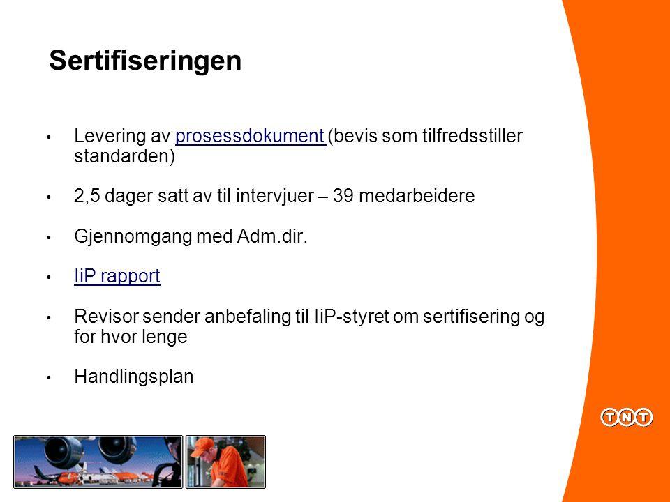 Sertifiseringen Levering av prosessdokument (bevis som tilfredsstiller standarden)prosessdokument 2,5 dager satt av til intervjuer – 39 medarbeidere Gjennomgang med Adm.dir.