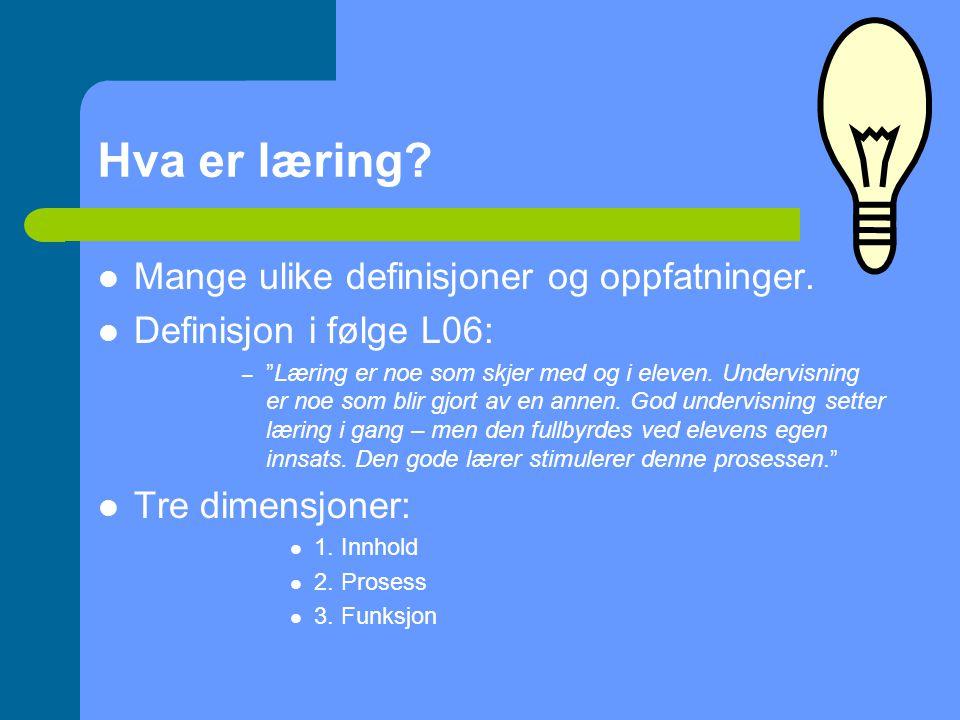 Hva er læring.Mange ulike definisjoner og oppfatninger.