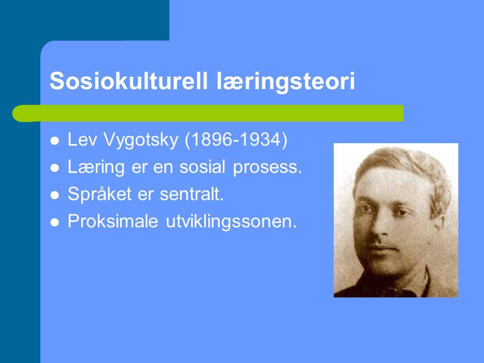 Sosiokulturell læringsteori Lev Vygotsky (1896-1934) Læring er en sosial prosess.