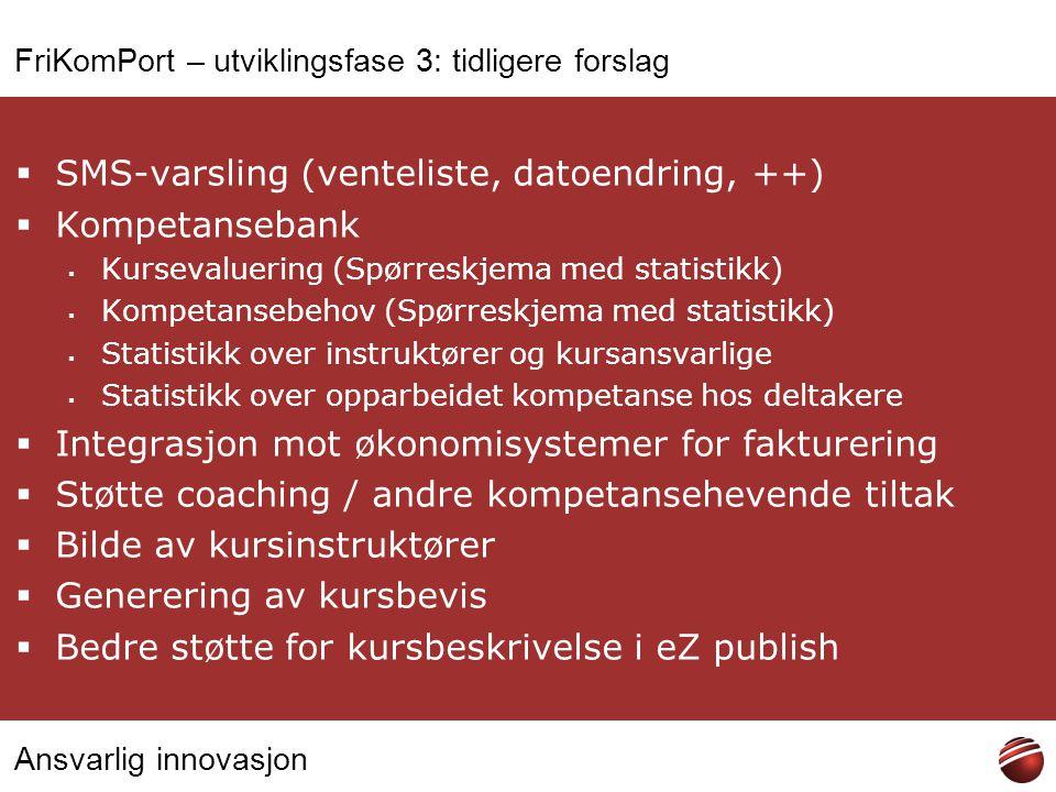 Ansvarlig innovasjon FriKomPort – utviklingsfase 3: tidligere forslag  SMS-varsling (venteliste, datoendring, ++)  Kompetansebank  Kursevaluering (