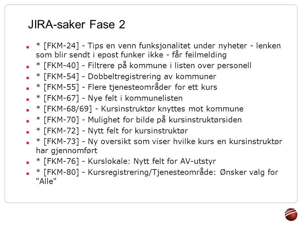 JIRA-saker Fase 2 * [FKM-24] - Tips en venn funksjonalitet under nyheter - lenken som blir sendt i epost funker ikke - får feilmelding * [FKM-40] - Fi