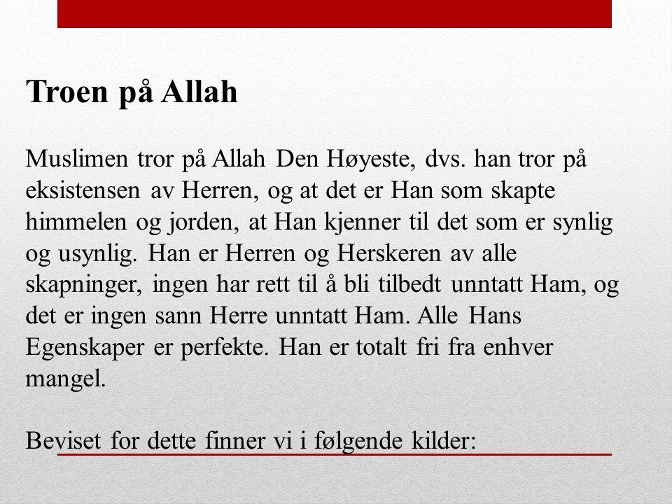 Troen på Allah Muslimen tror på Allah Den Høyeste, dvs. han tror på eksistensen av Herren, og at det er Han som skapte himmelen og jorden, at Han kjen