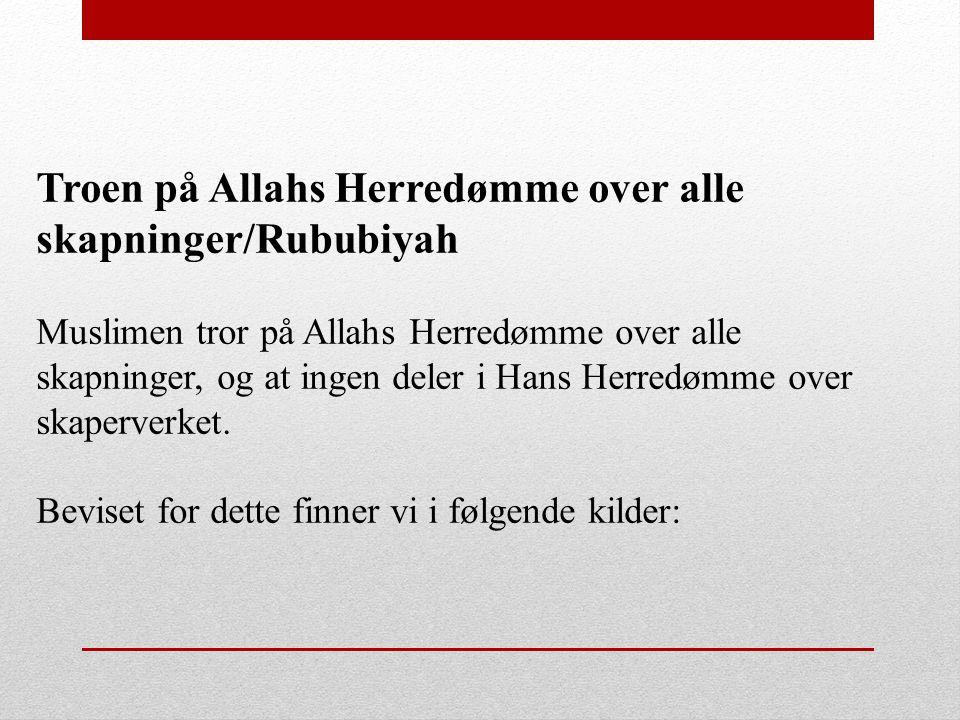 Troen på Allahs Herredømme over alle skapninger/Rububiyah Muslimen tror på Allahs Herredømme over alle skapninger, og at ingen deler i Hans Herredømme