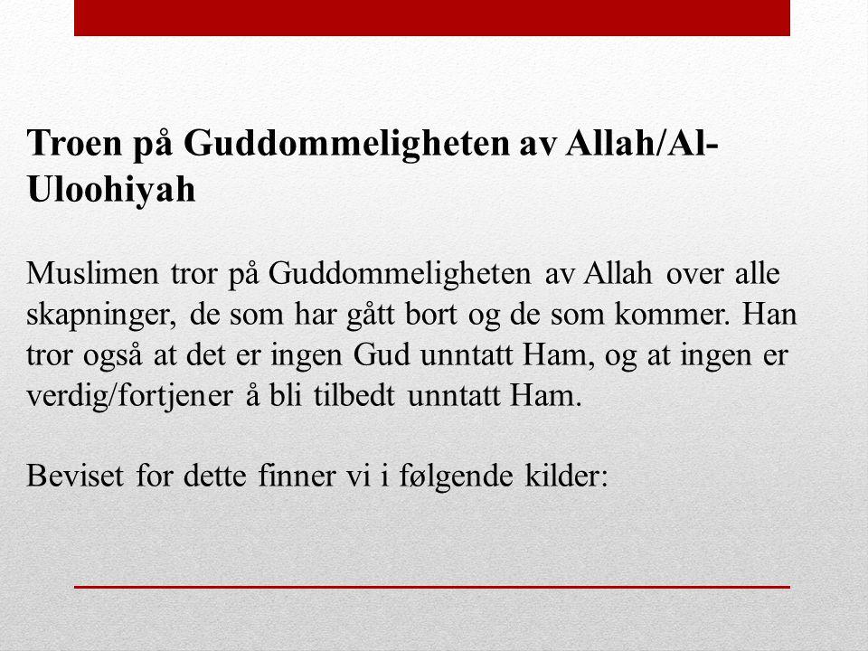 Troen på Guddommeligheten av Allah/Al- Uloohiyah Muslimen tror på Guddommeligheten av Allah over alle skapninger, de som har gått bort og de som komme