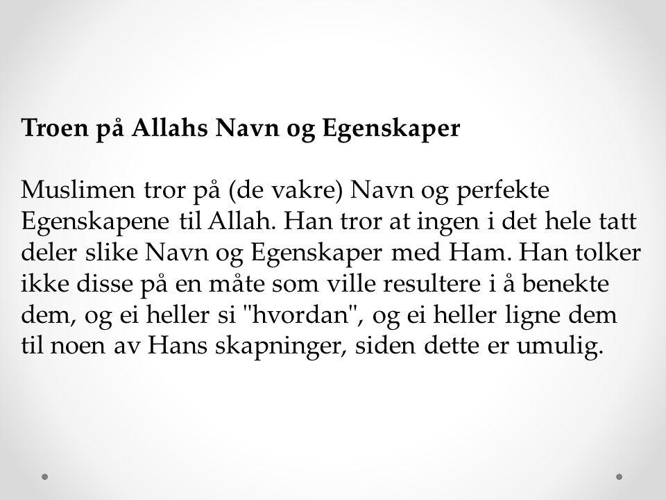Troen på Allahs Navn og Egenskaper Muslimen tror på (de vakre) Navn og perfekte Egenskapene til Allah. Han tror at ingen i det hele tatt deler slike N