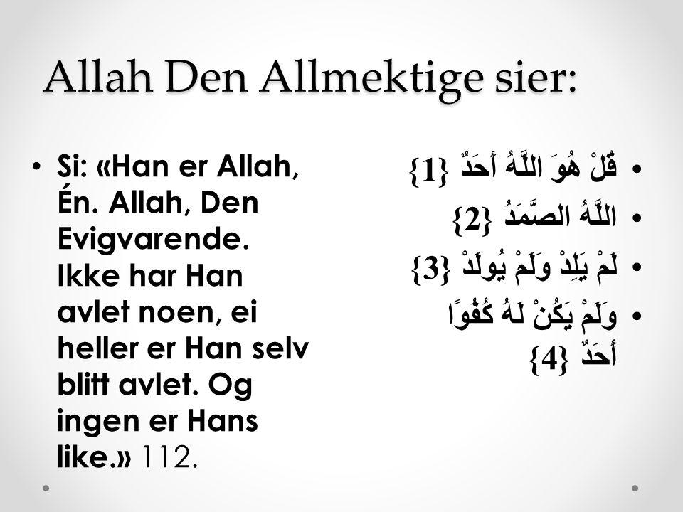 Allah Den Allmektige sier: قُلْ هُوَ اللَّهُ أَحَدٌ {1} اللَّهُ الصَّمَدُ {2} لَمْ يَلِدْ وَلَمْ يُولَدْ {3} وَلَمْ يَكُنْ لَهُ كُفُوًا أَحَدٌ {4} Si:
