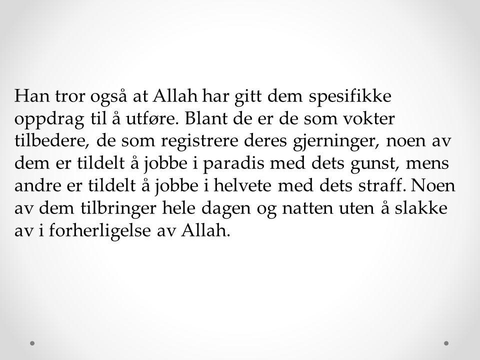 Han tror også at Allah har gitt dem spesifikke oppdrag til å utføre. Blant de er de som vokter tilbedere, de som registrere deres gjerninger, noen av